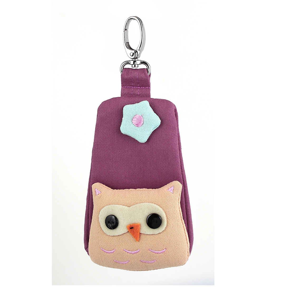 Lobster Clasp Zip Up Cloth Owl Head Decor Key Coin Bag Purse Wallet Pouch Purple