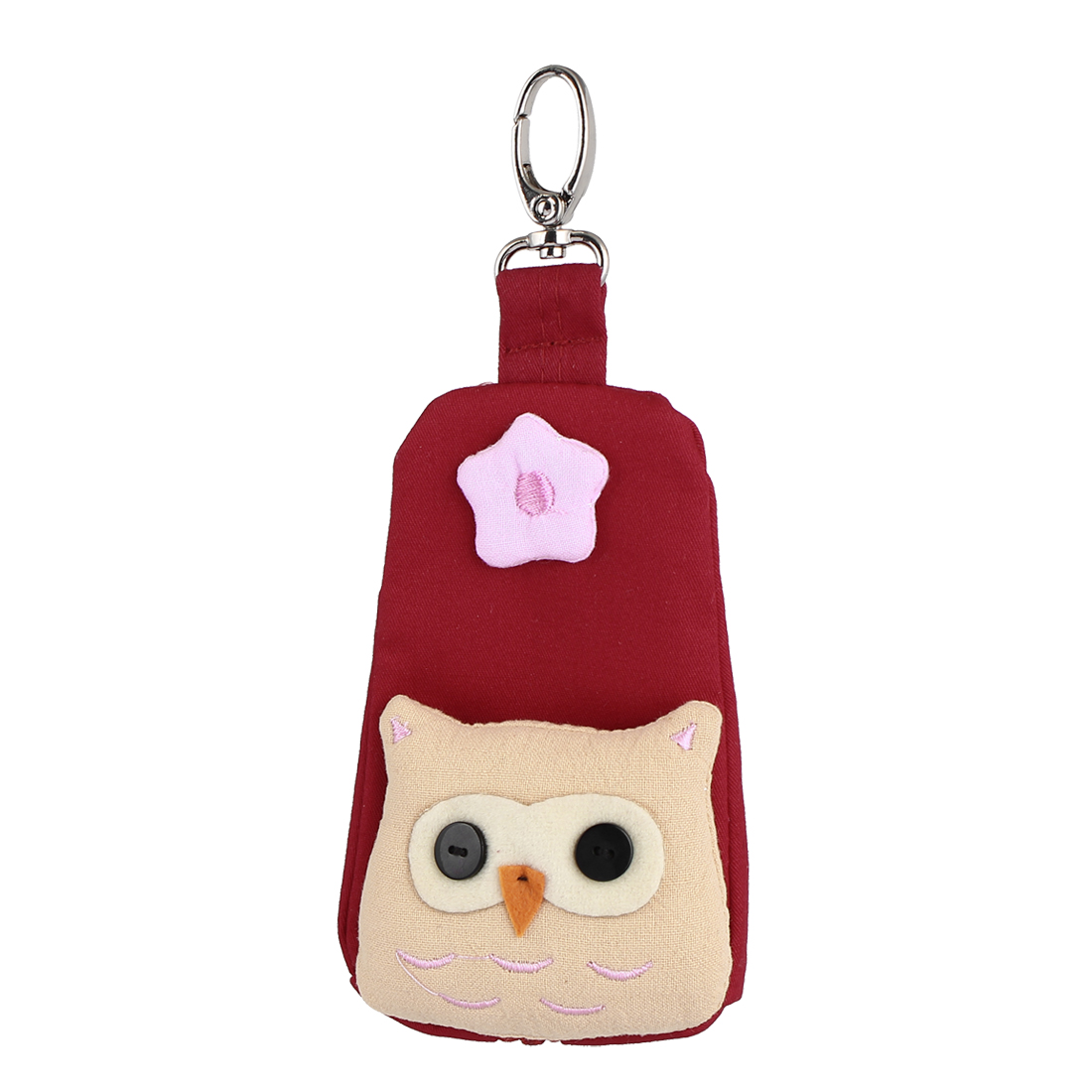 Lobster Clasp Zip Up Cloth Owl Head Decor Key Coin Holder Bag Purse Wallet Red