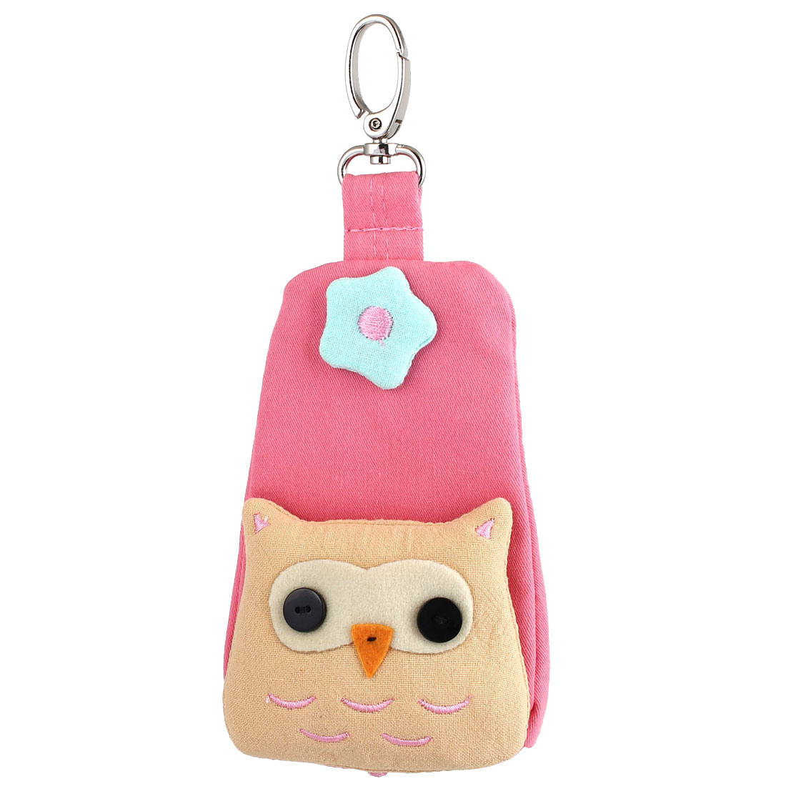 Lobster Clasp Zip Up Cloth Owl Head Decor Key Coin Holder Bag Purse Wallet Pink