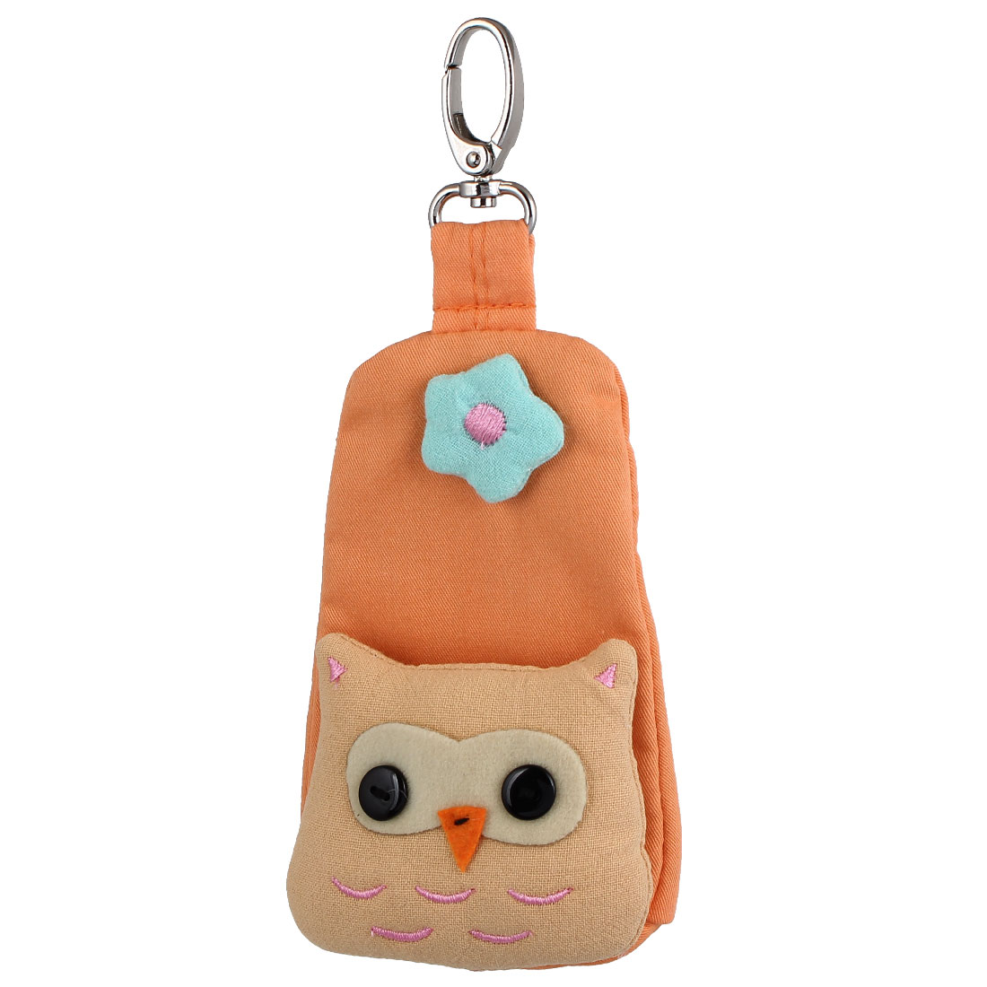 Lobster Clasp Zip Up Cloth Owl Head Decor Key Coin Bag Purse Wallet Pouch Orange