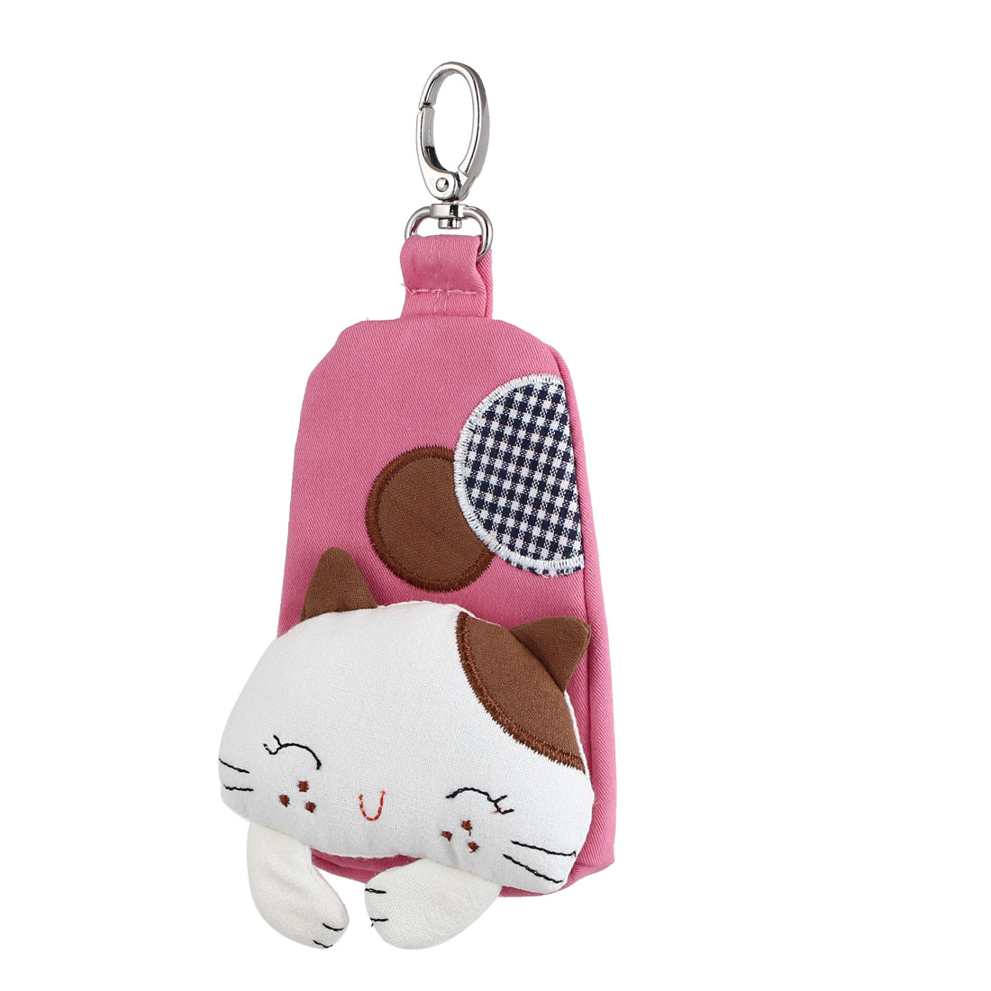 Lobster Clasp Zip Up Cloth Cat Head Decor Key Coin Holder Bag Purse Wallet Pink