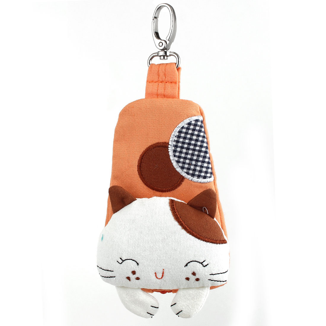 Lobster Clasp Zip Up Cloth Cat Head Decor Key Coin Bag Purse Wallet Pouch Orange