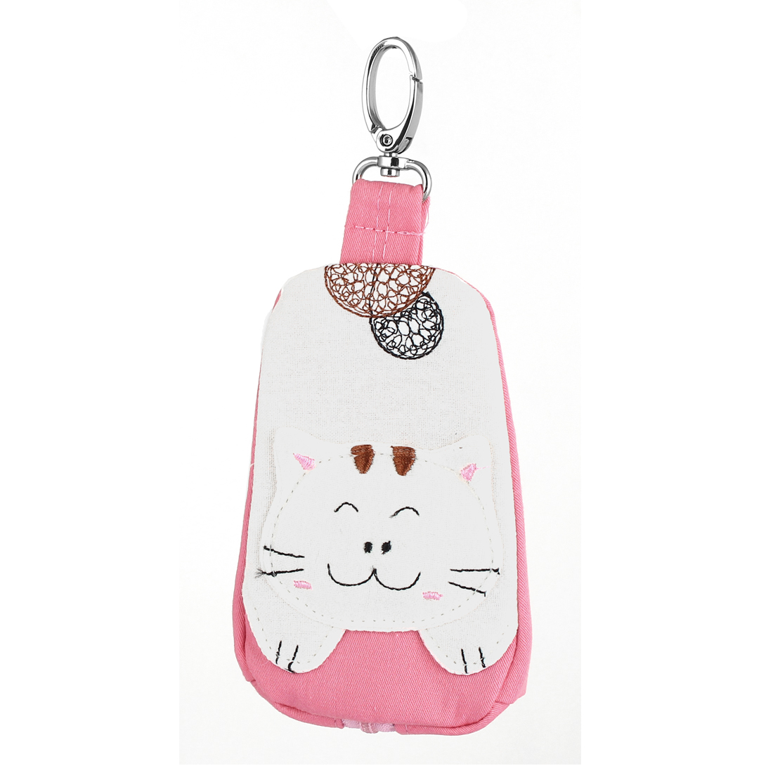 Lobster Clasp Zippered Cat Pattern Key Coin Card Holder Bag Purse Wallet Pink