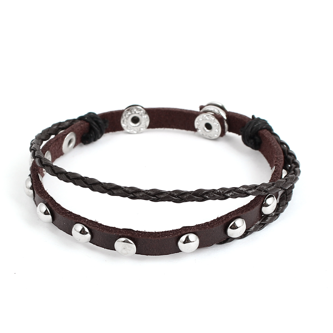 Men Women Retro Style Metal Rivet Decor Stud Buckle Faux Leather Wrist Bracelet