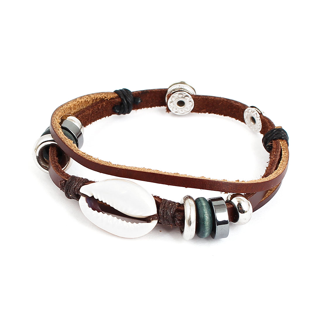 Men Women Retro Style Worm Shell Decor Stud Buckle Faux Leather Wrist Bracelet