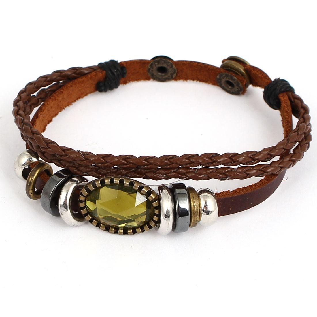 Men Women Retro Style Faux Rhinestone Decor Stud Buckle Faux Leather Wrist Bracelet
