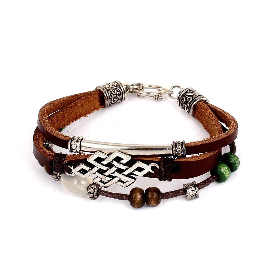 Women Retro Style Plastic Pearl Decor Interlocking Faux Leather Wrist Bracelet