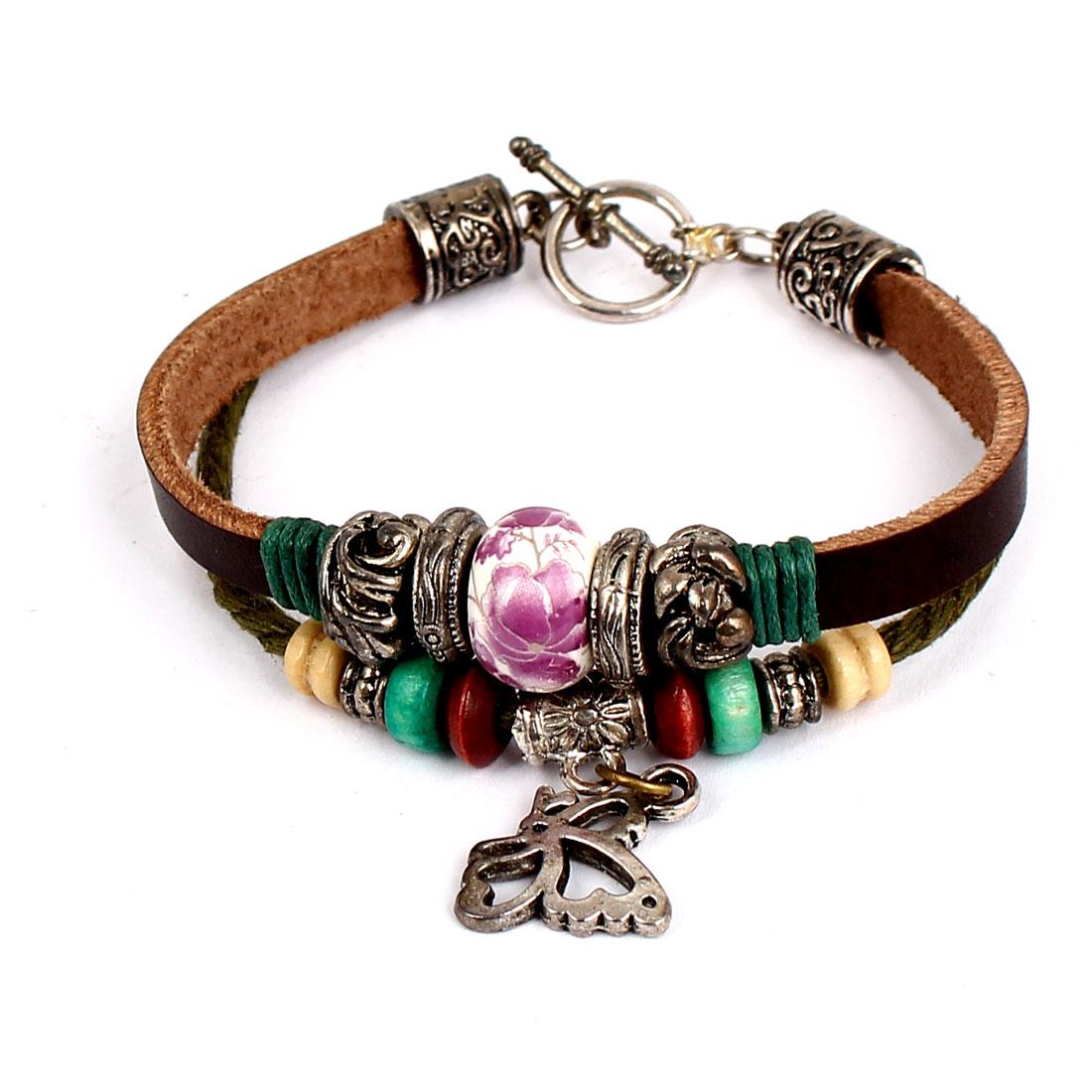 Women Retro Style Metal Butterfly Pendant Interlocking Faux Leather Wrist Bracelet