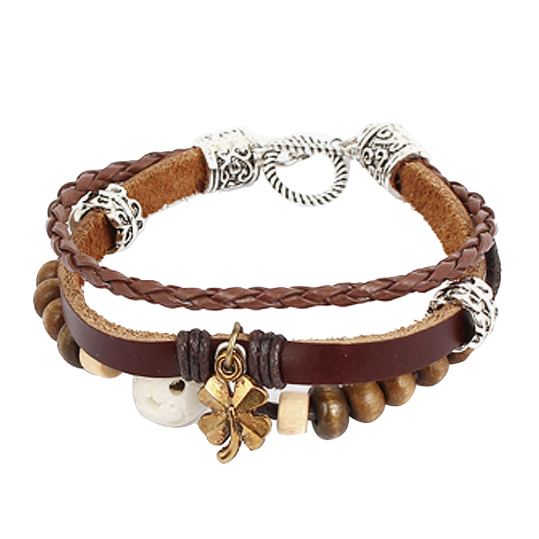Women Retro Style Four Leaf Flover Pendant Interlocking Faux Leather Wrist Bracelet
