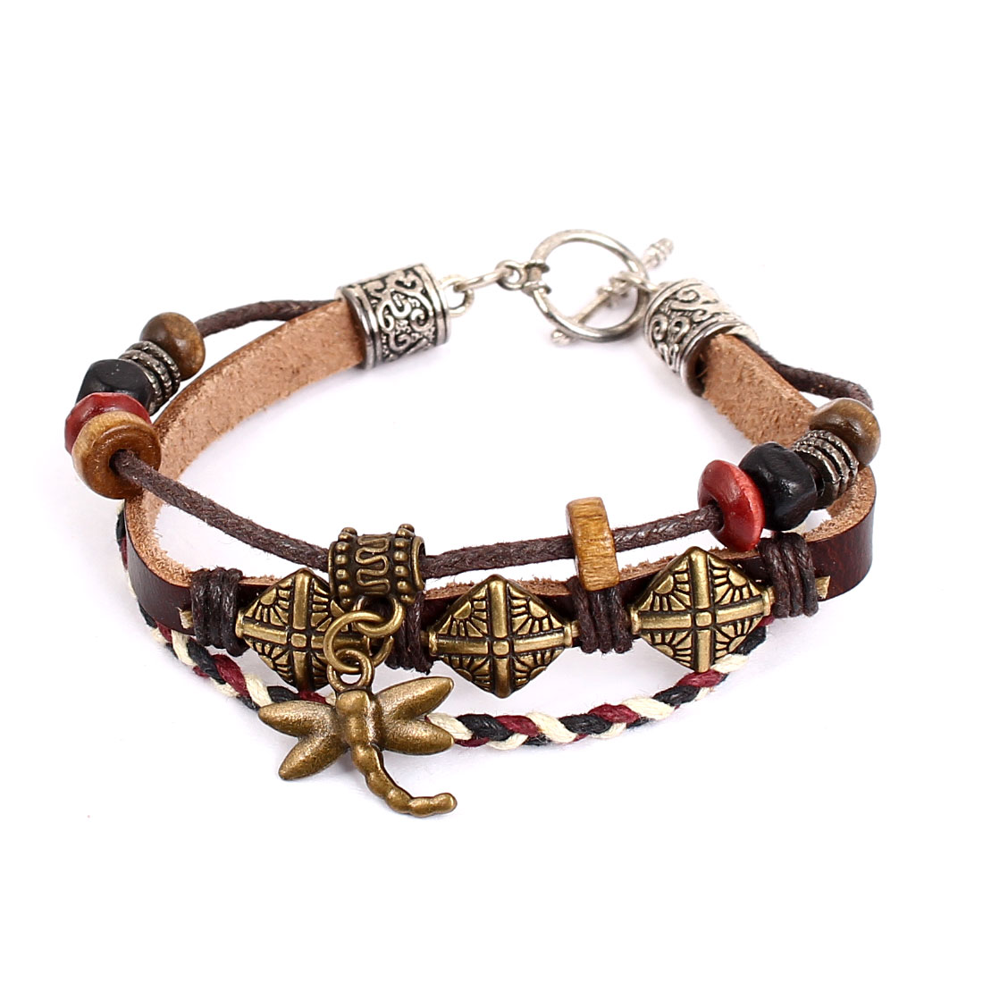 Lady Retro Style Metal Dragonfly Pendant Interlocking Faux Leather Wrist Bracelet