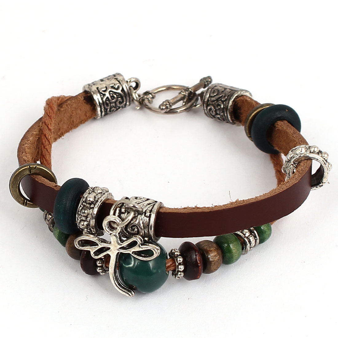 Women Retro Style Metal Dragonfly Pendant Interlocking Faux Leather Wrist Bracelet