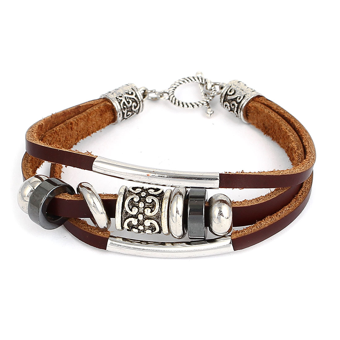 Women Retro Style Metal Dual Pipe Detail Interlocking Faux Leather Wrist Bracelet