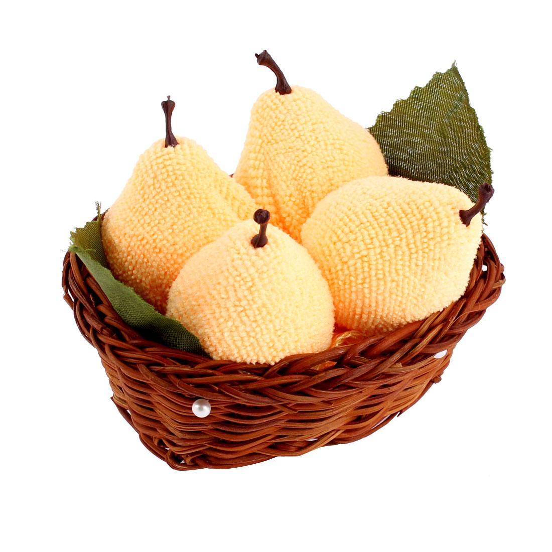 Pear Design Basket Decor Wedding Party Gift Fold Washcloth Hand Towel Yellow