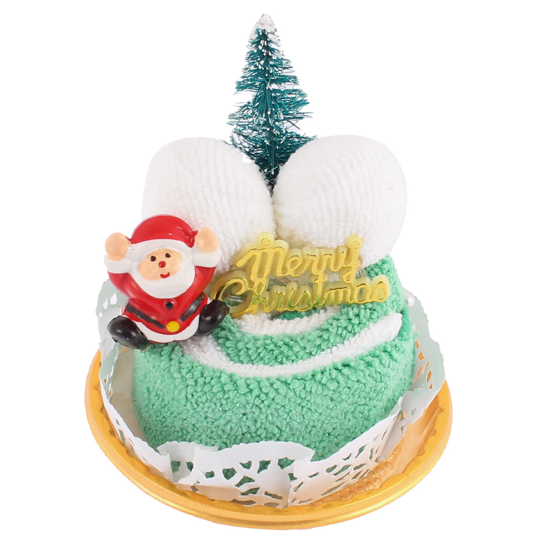 Cake Design Christmas Tree Santa Decor Party Gift Washcloth Hand Towel Green