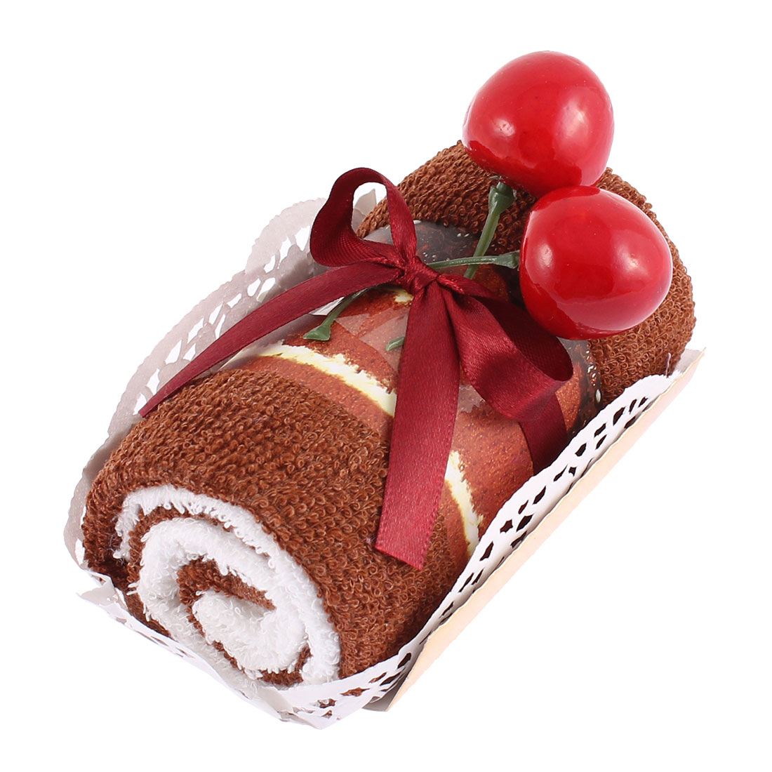 Roll Cake Design Cherry Decor Wedding Party Gift Washcloth Hand Towel Brown