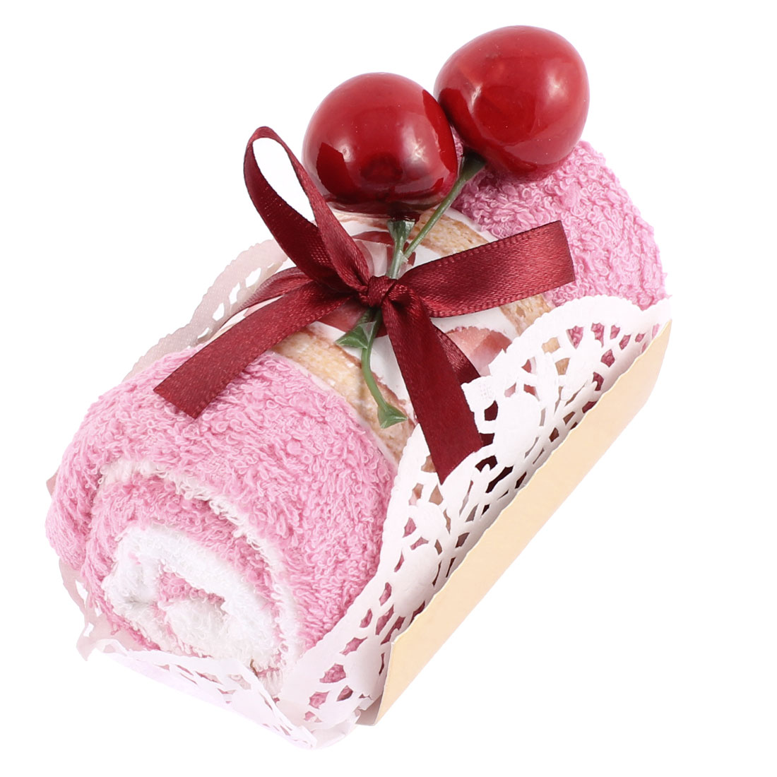 Roll Cake Design Cherry Decor Wedding Party Gift Washcloth Hand Towel Pink
