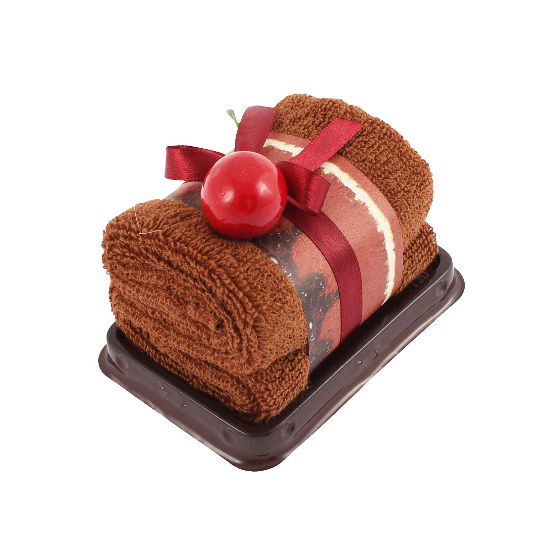 Rectangle Cake Design Fruit Decor Wedding Party Gift Washcloth Hand Towel Brown