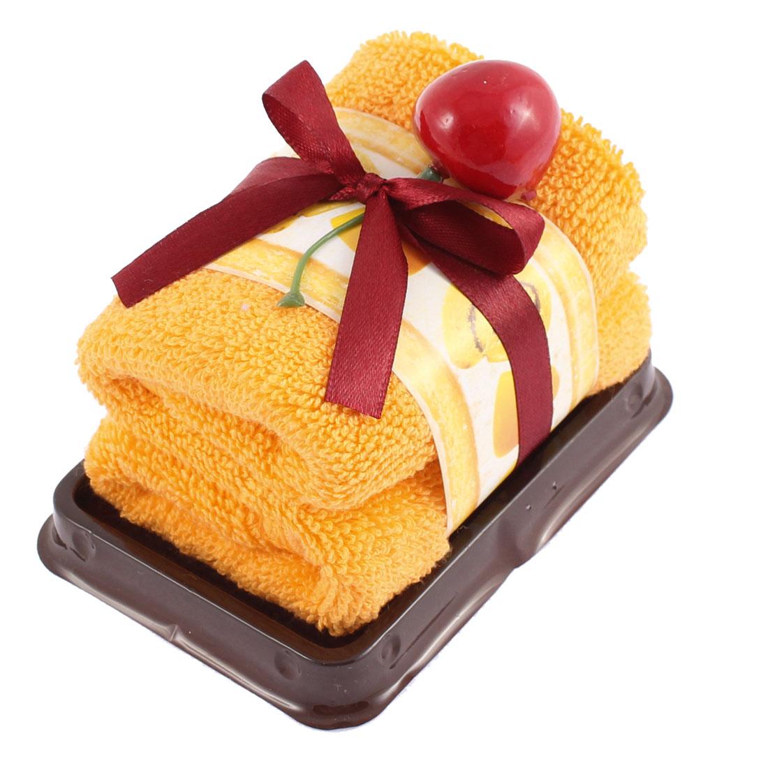 Rectangle Cake Design Fruit Decor Wedding Party Gift Washcloth Hand Towel Orange