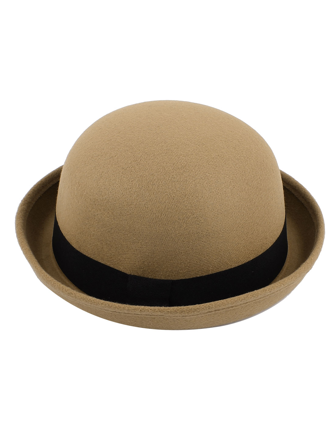 Girl Travel Black Band Rolled Cotton Blends Roll up Brim Worsted Bowler Hat Cap Khaki