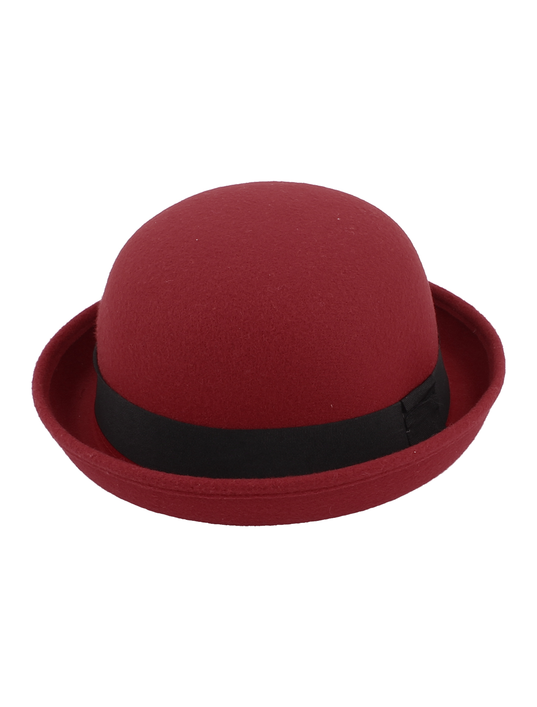 Girl Travel Black Band Rolled Cotton Blends Roll up Brim Worsted Bowler Hat Cap Red