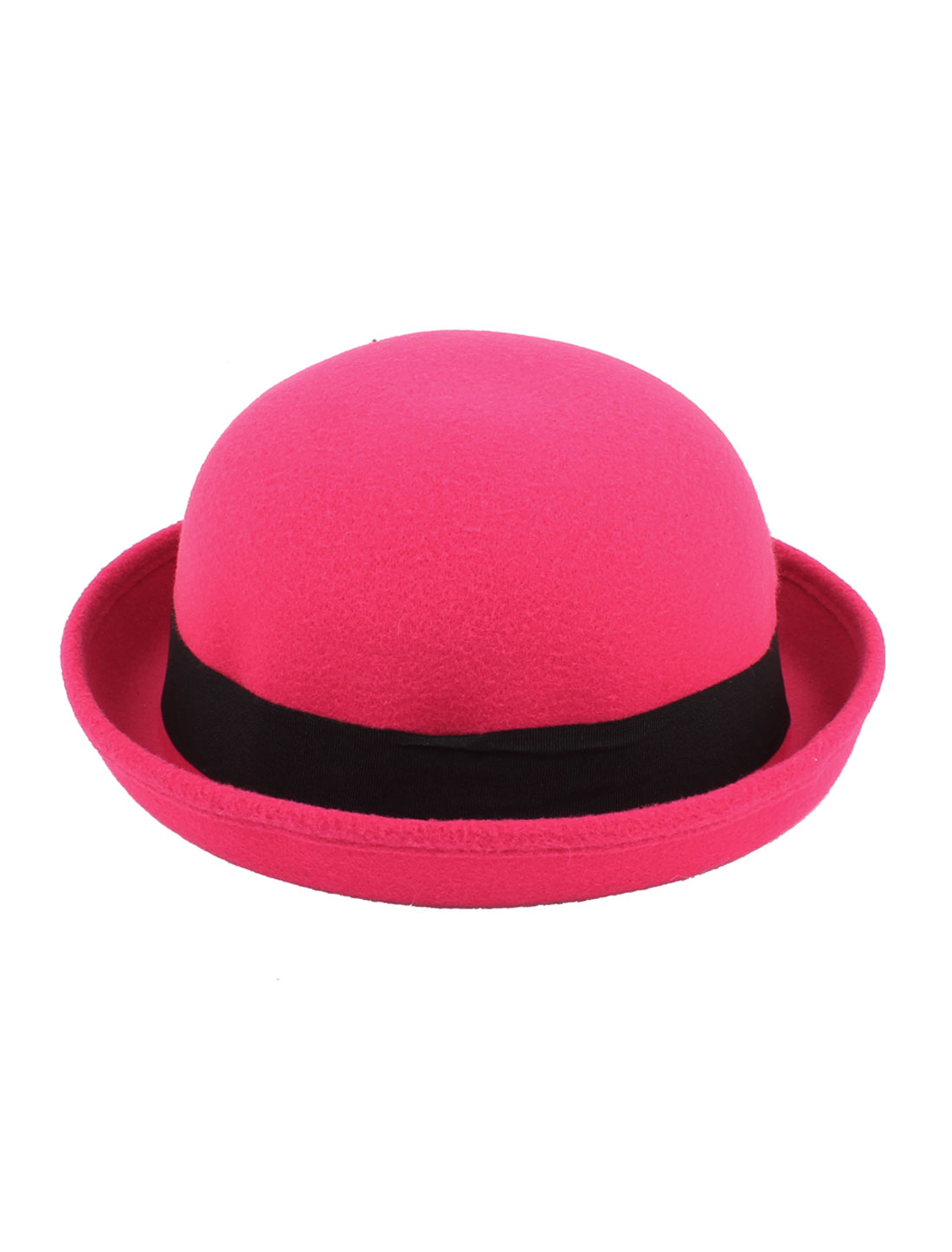 Girl Travel Black Band Rolled Cotton Blends Roll up Brim Worsted Bowler Hat Cap Fuchsia