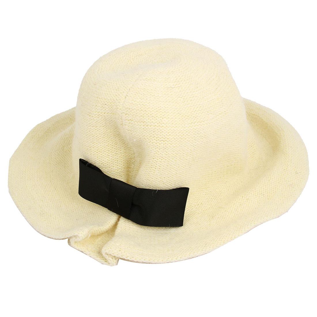 Lady Faux Fur Bowknot Decor Party Winter Bowler Cloche Bucket Hat Cap Off White
