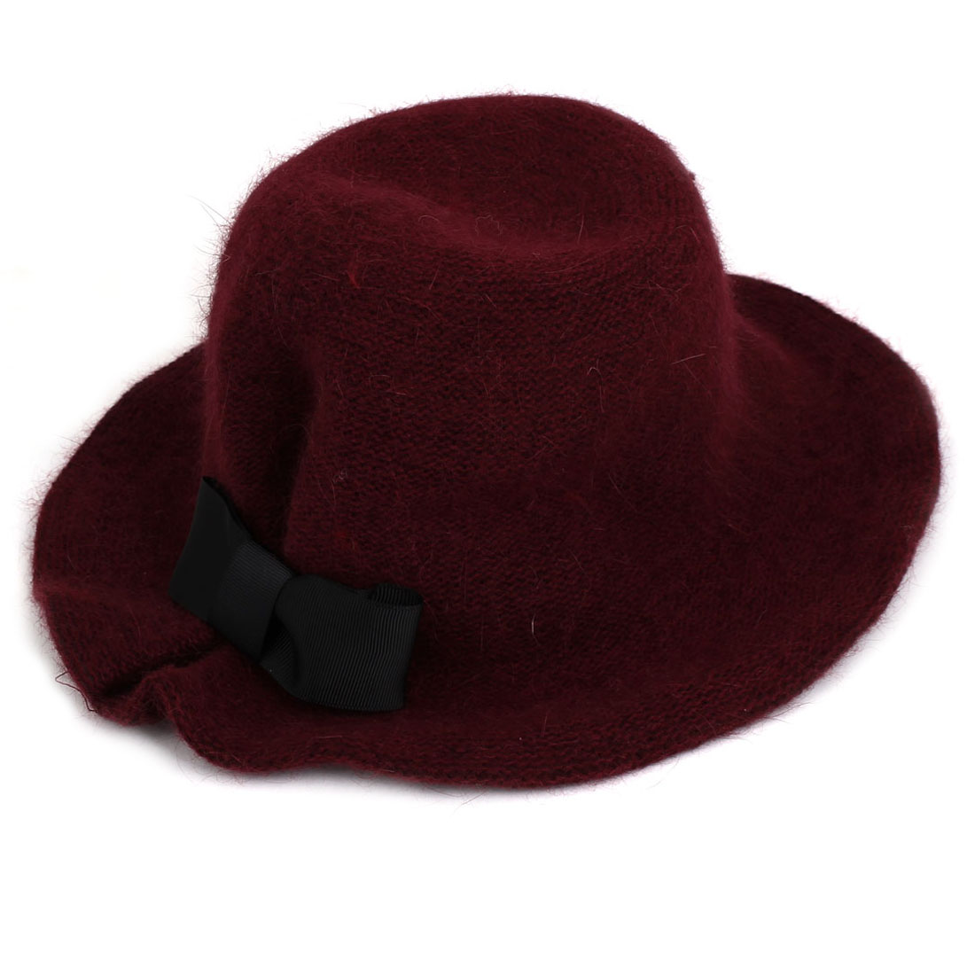 Lady Faux Fur Bowknot Decor Party Warm Bowler Cloche Bucket Hat Cap Burgundy