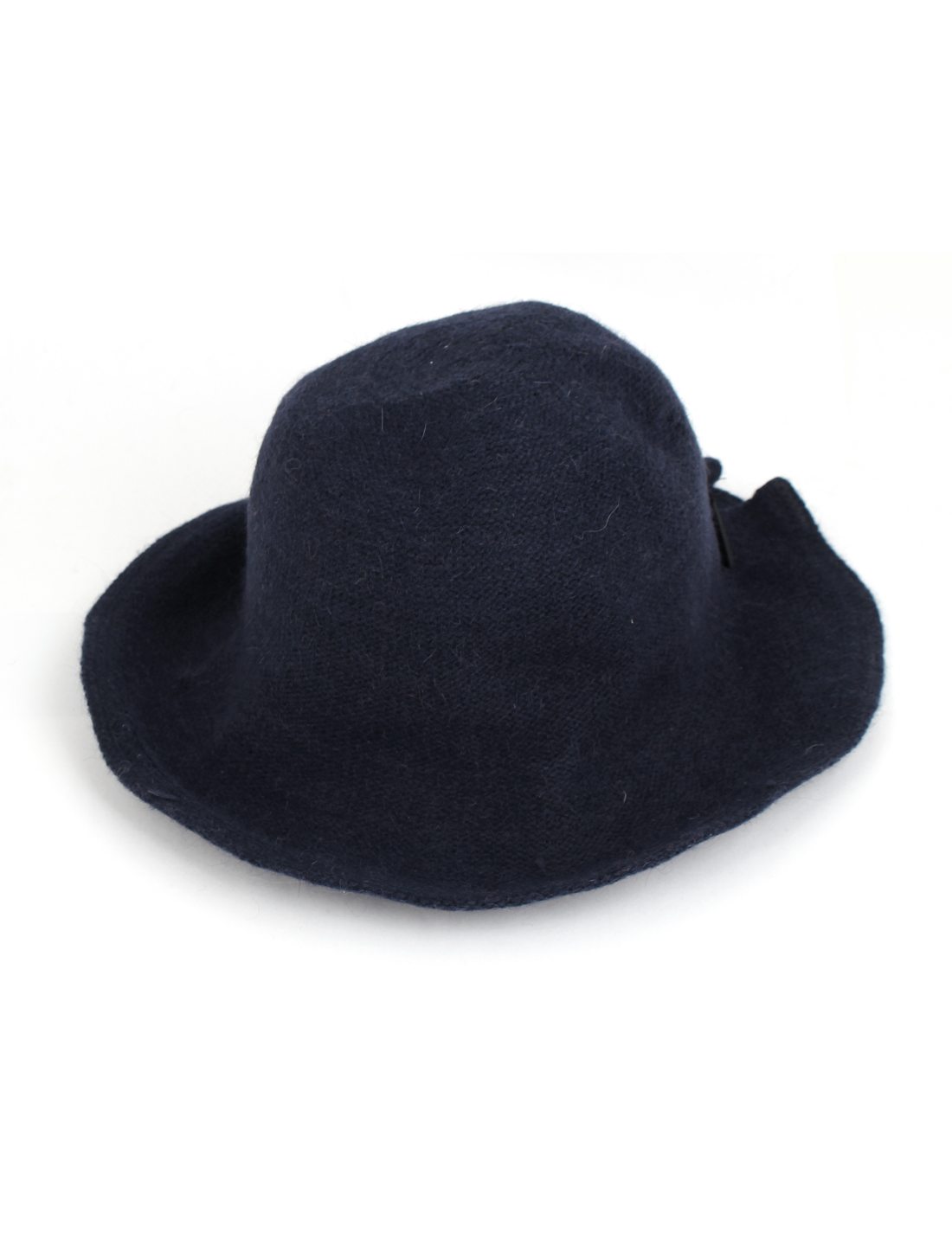 Lady Faux Fur Bowknot Decor Party Winter Bowler Cloche Bucket Hat Cap Dark Blue