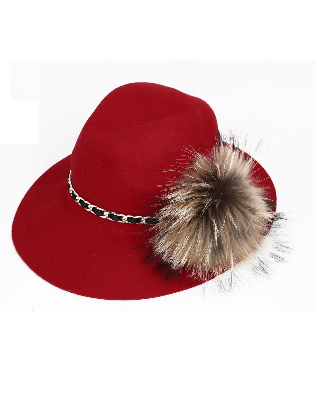 Lady Women Felt Wide Brim Metal Chain Decor Winter Fedora Cloche Hat Cap Red