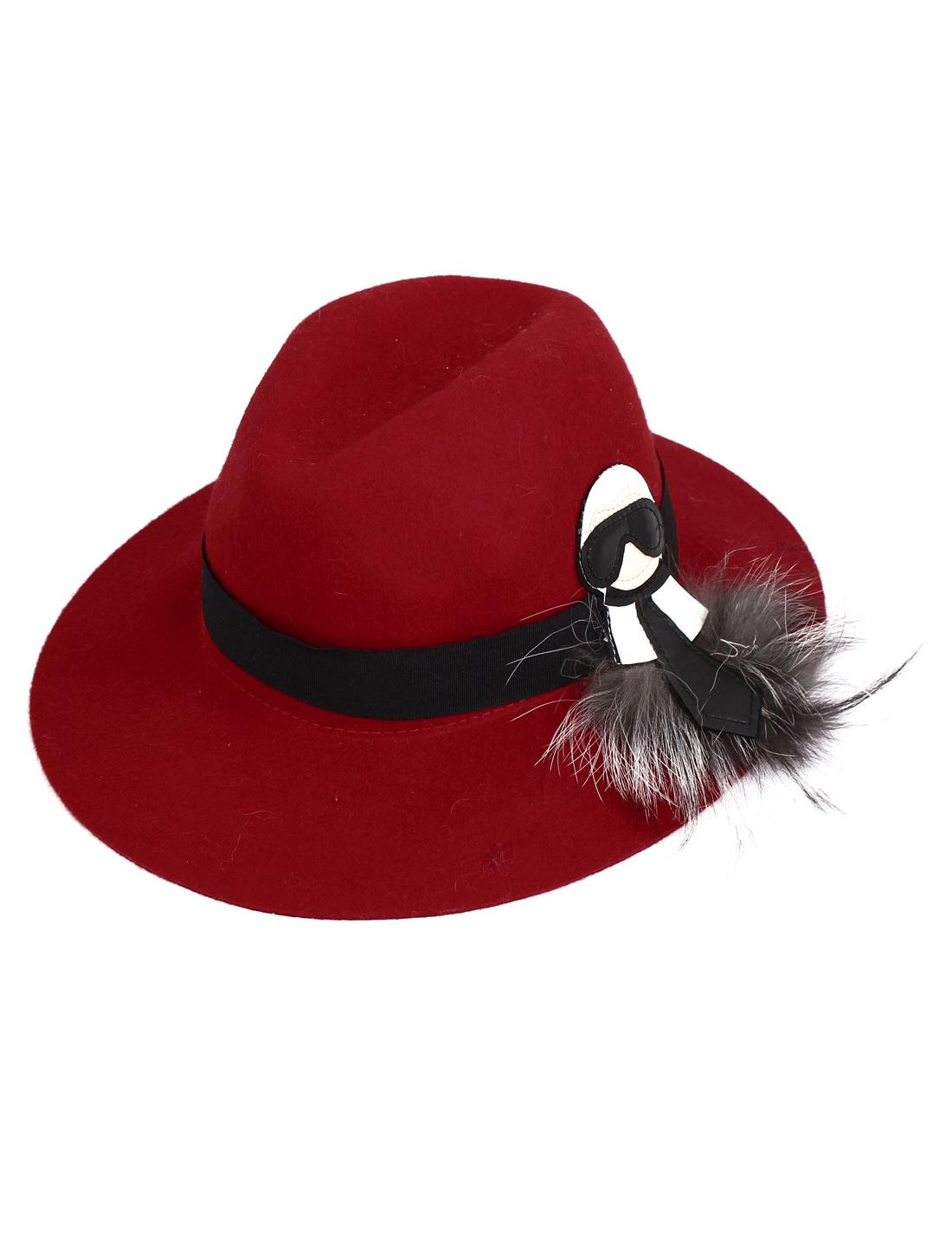 Lady Women Felt Wide Brim Wedding Party Winter Bowler Cloche Hat Cap Red