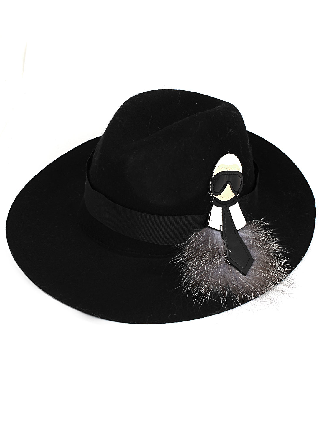 Lady Women Felt Wide Brim Wedding Party Winter Bowler Cloche Hat Cap Black