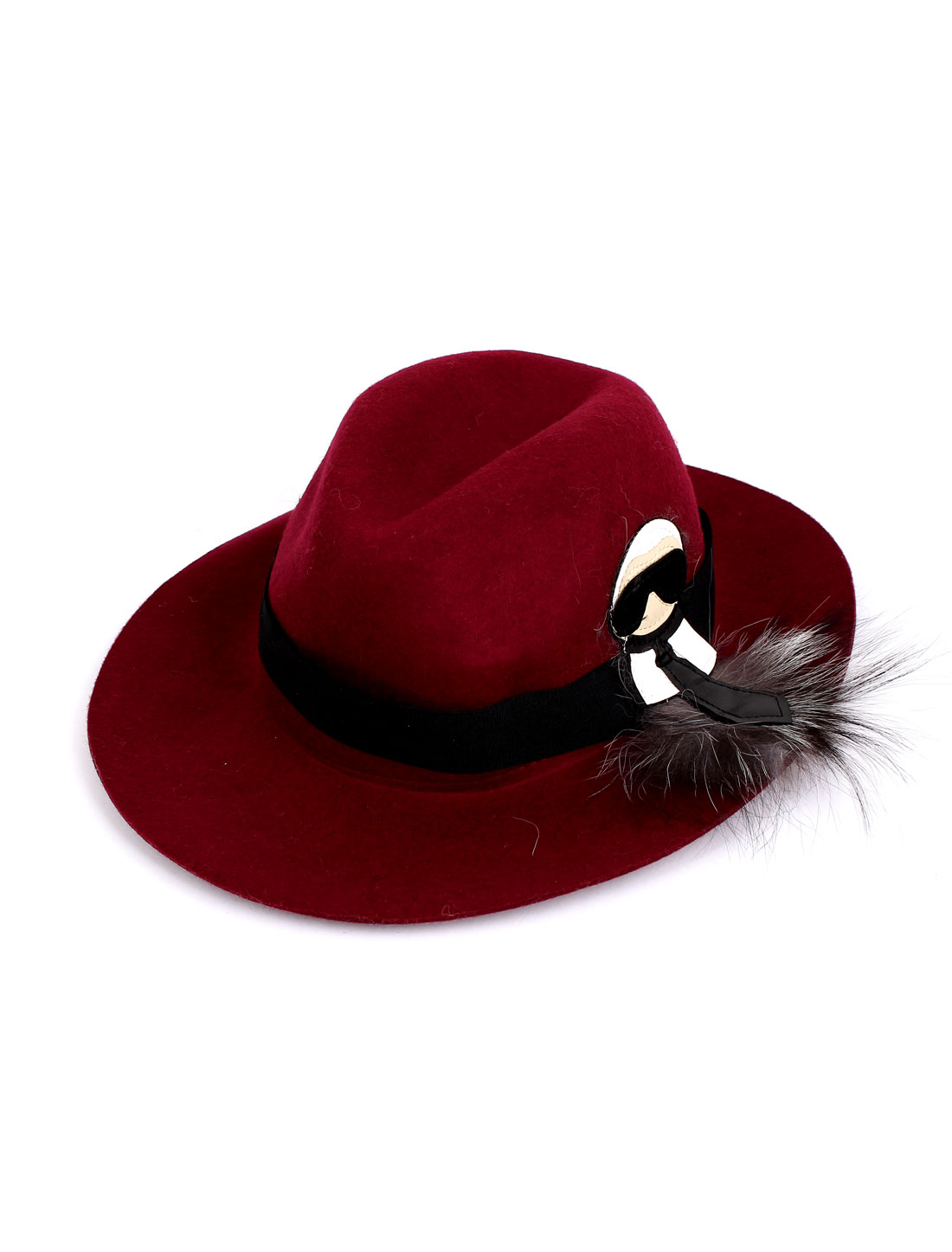 Lady Women Felt Wide Brim Wedding Party Warm Bowler Cloche Hat Cap Burgundy