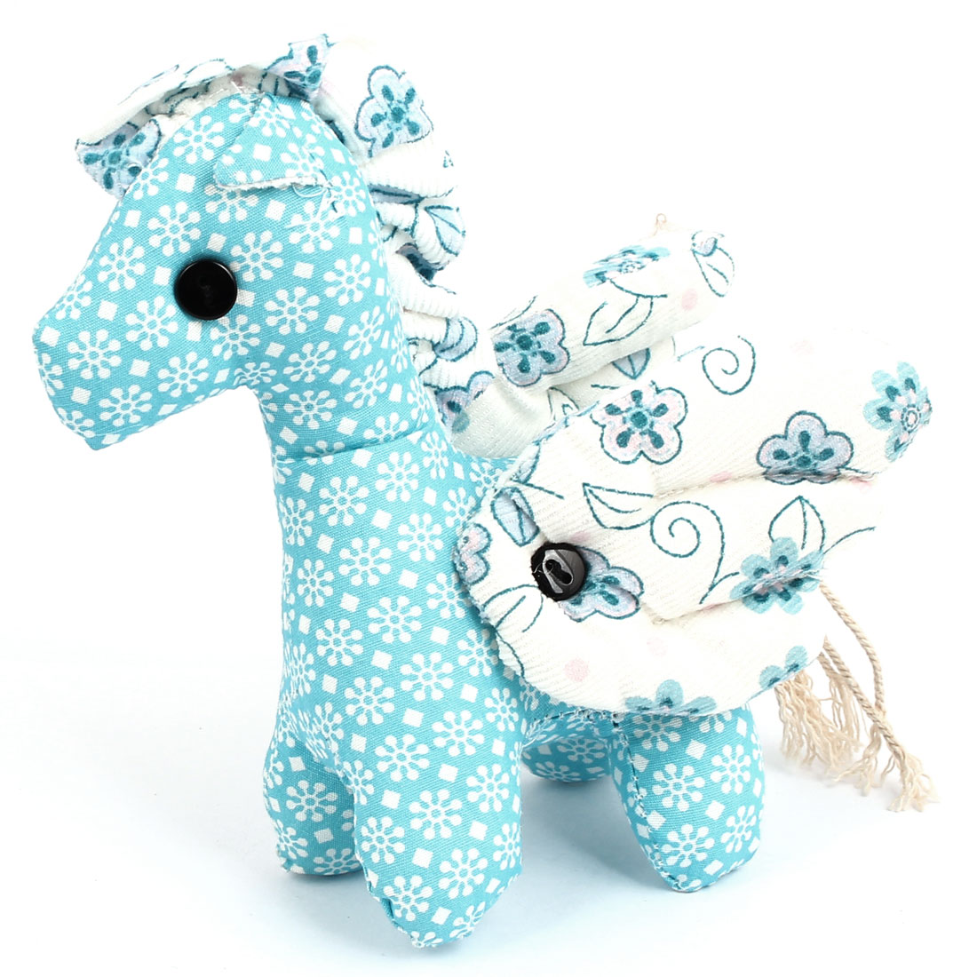 Metal Ball Chain Flower Pattern Bag Decoration Winged Horse Doll Toy Pendant Blue