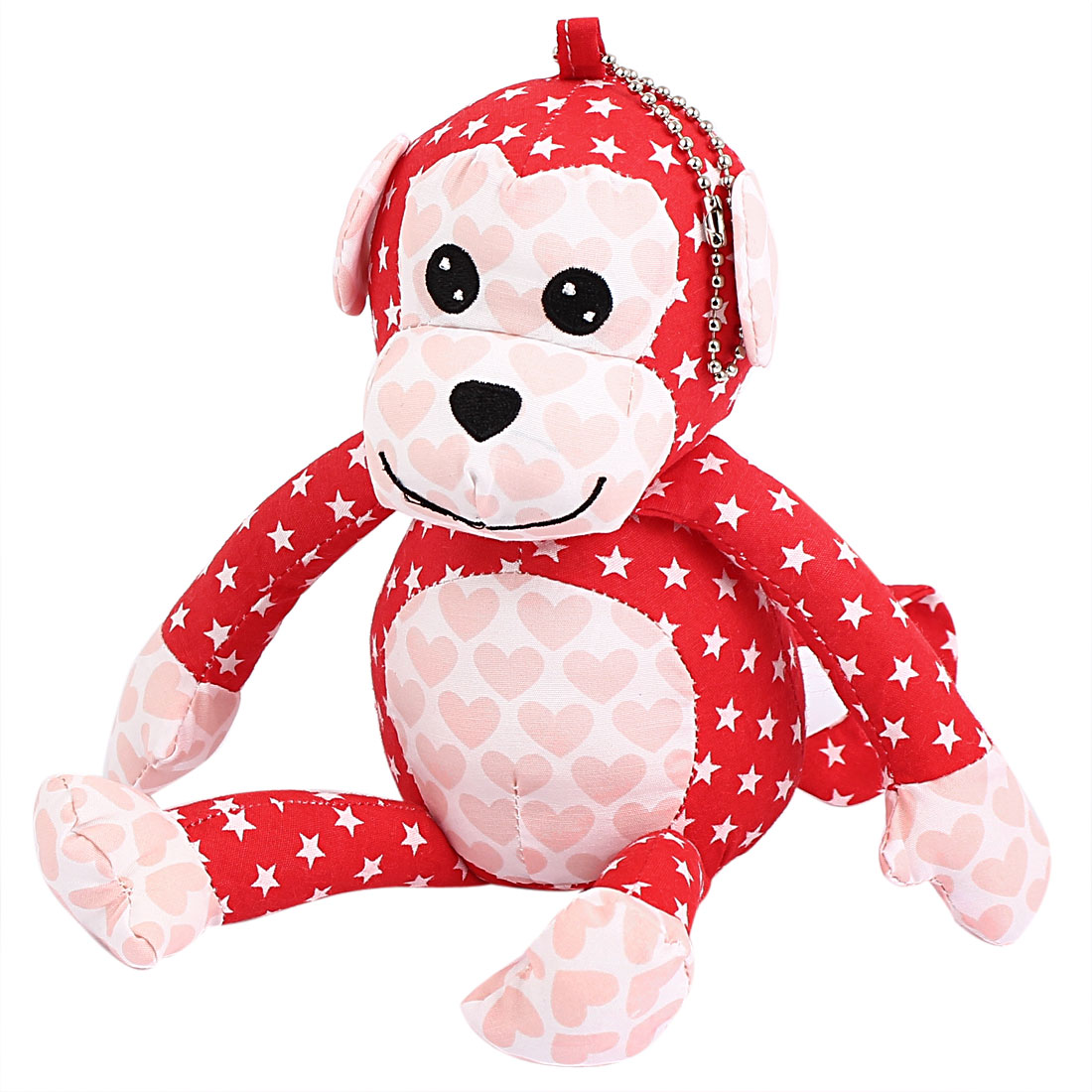 Metal Ball Chain Star Pattern Bag Decoration Monkey Doll Toy Pendant Red