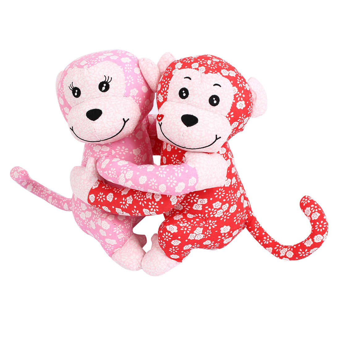 Flower Pattern Wedding Party Gift Animal Toy Couple Hug Monkey Doll Red Pink