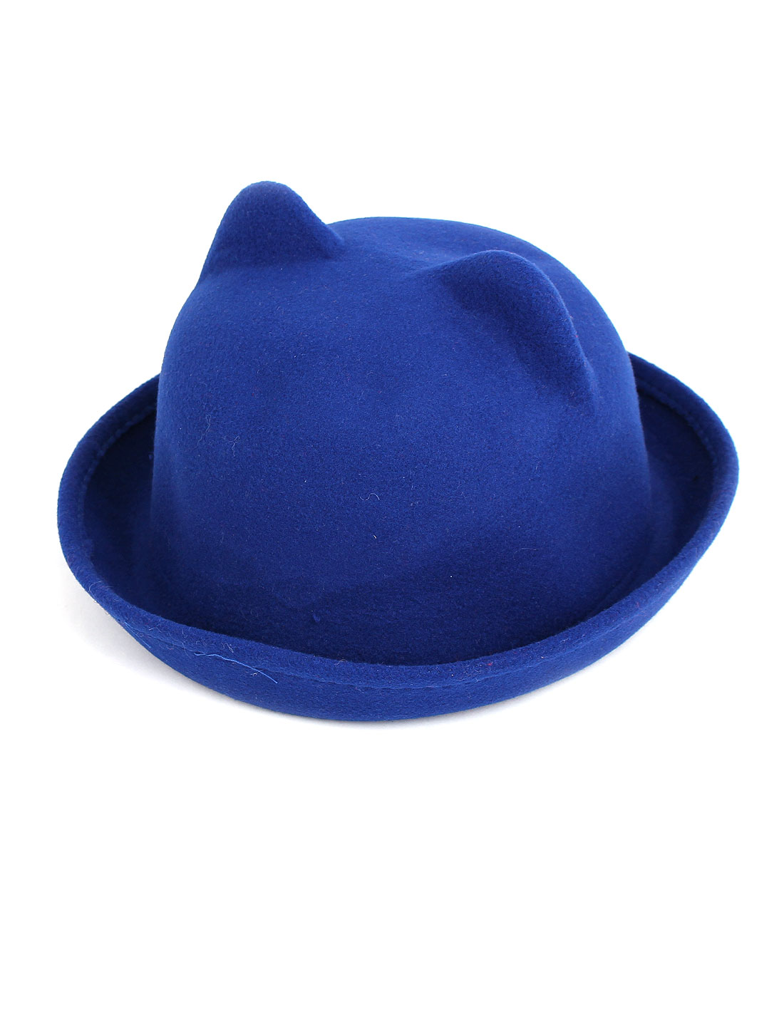 Girl Felt Cat Ear Design Short Brim Wedding Party Winter Bowler Hat Cap Royal Blue