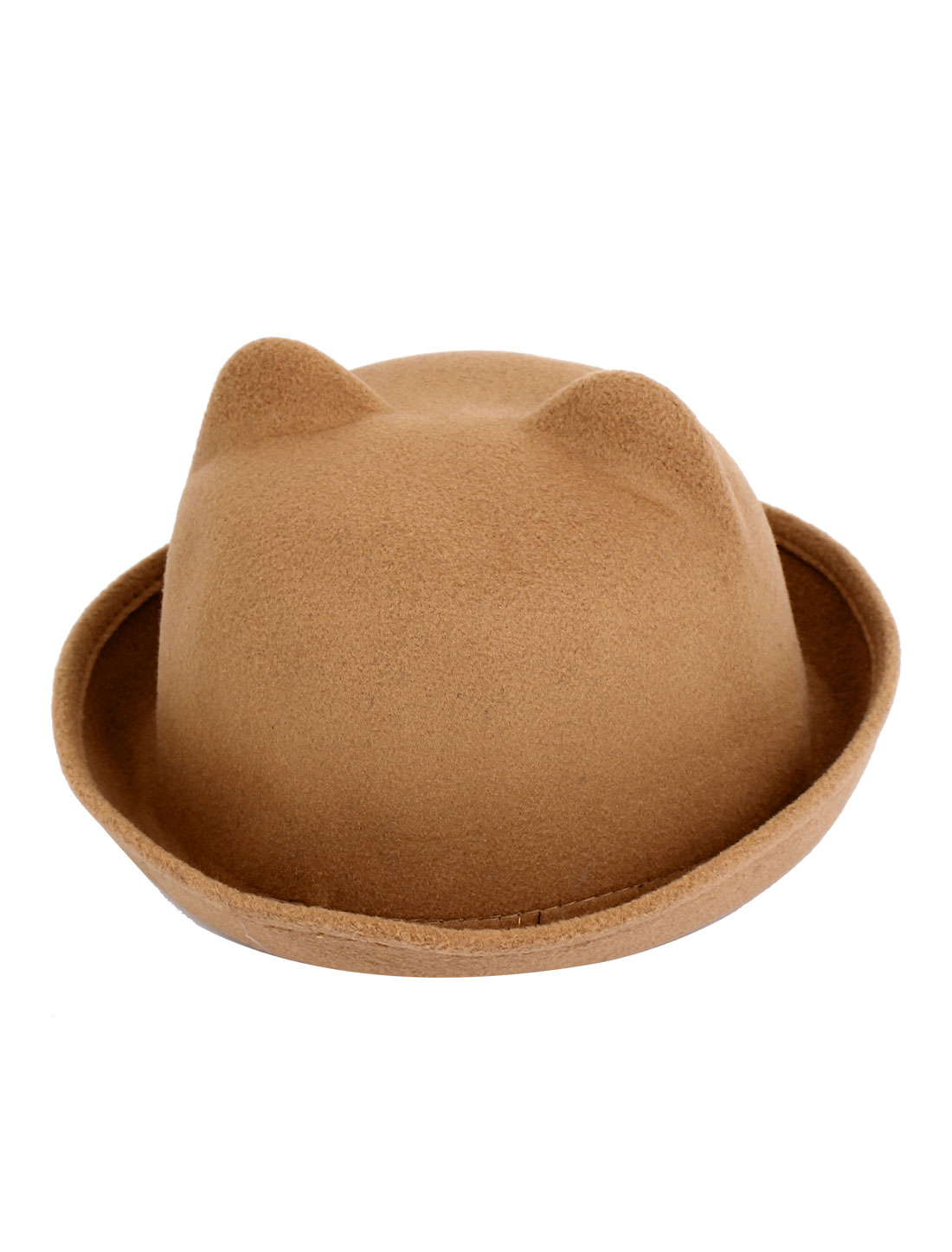 Girl Felt Cat Ear Design Short Brim Wedding Party Winter Bowler Hat Cap Khaki Color