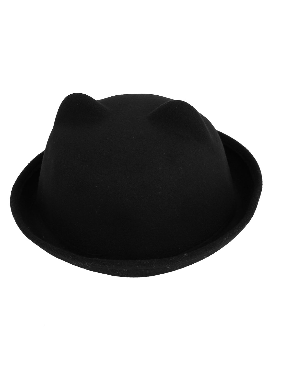 Girl Felt Cat Ear Design Short Brim Wedding Party Winter Bowler Hat Cap Black