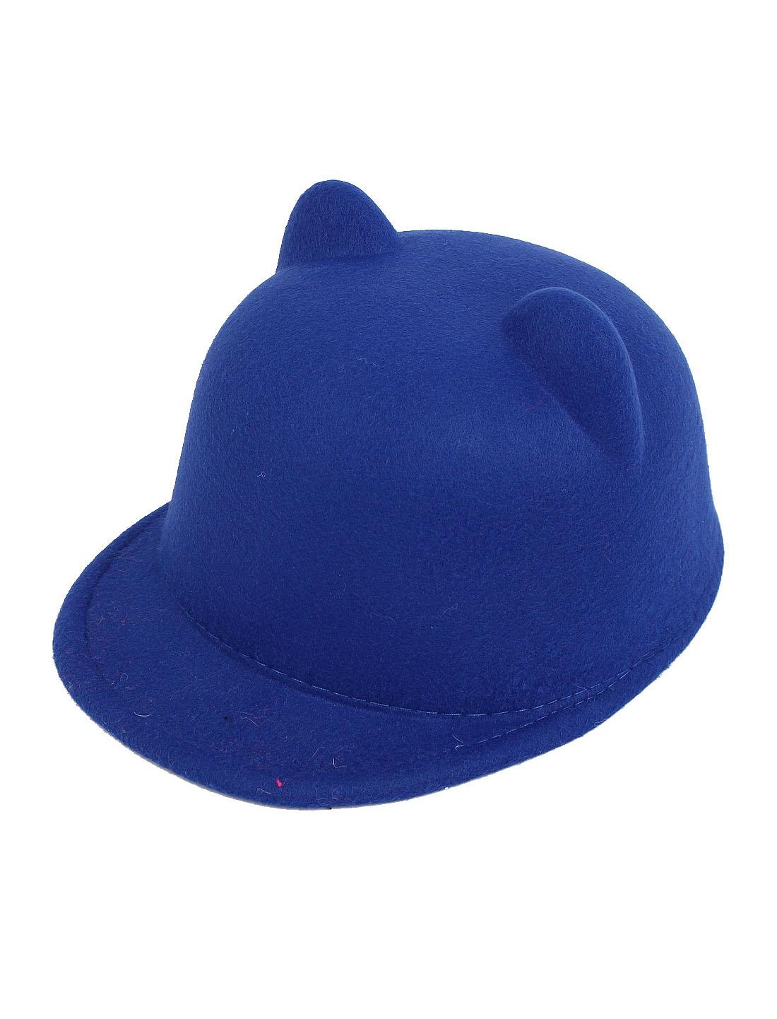 Girl Cat Ear Design Christmas Party Winter Warm Bowler Cap Hat Casquette Royal Blue