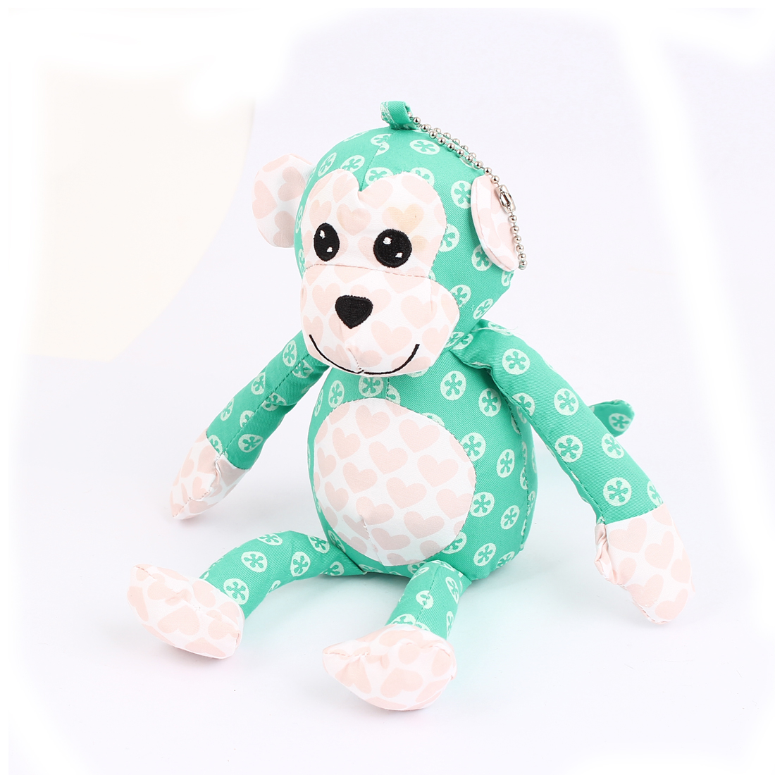 Metal Ball Chain Dotted Pattern Bag Ornament Monkey Doll Toy Pendant Green
