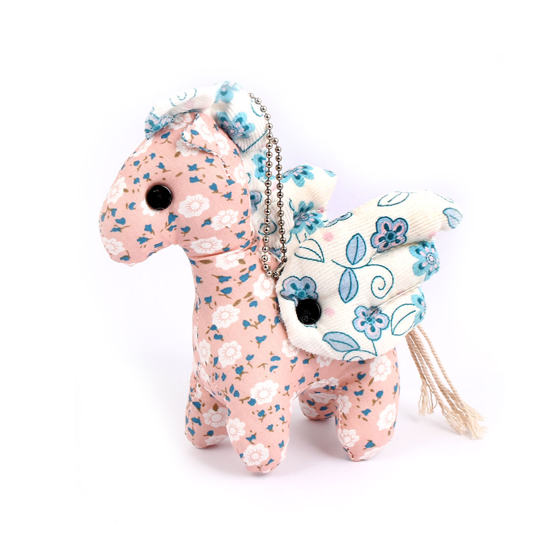 Metal Ball Chain Flower Pattern Bag Decoration Winged Horse Doll Toy Pendant Pink
