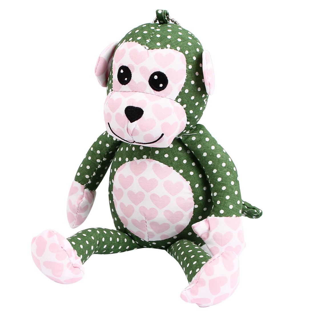 Metal Ball Chain Dotted Pattern Bag Decoration Monkey Doll Toy Dark Green