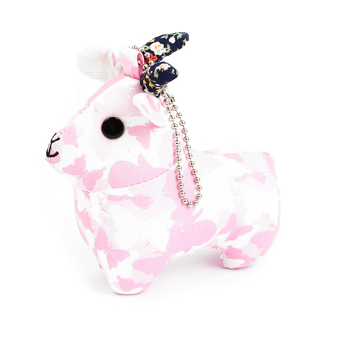 Metal Ball Chain Butterfly Pattern Bag Decoration Sheep Doll Toy Pendant Pink