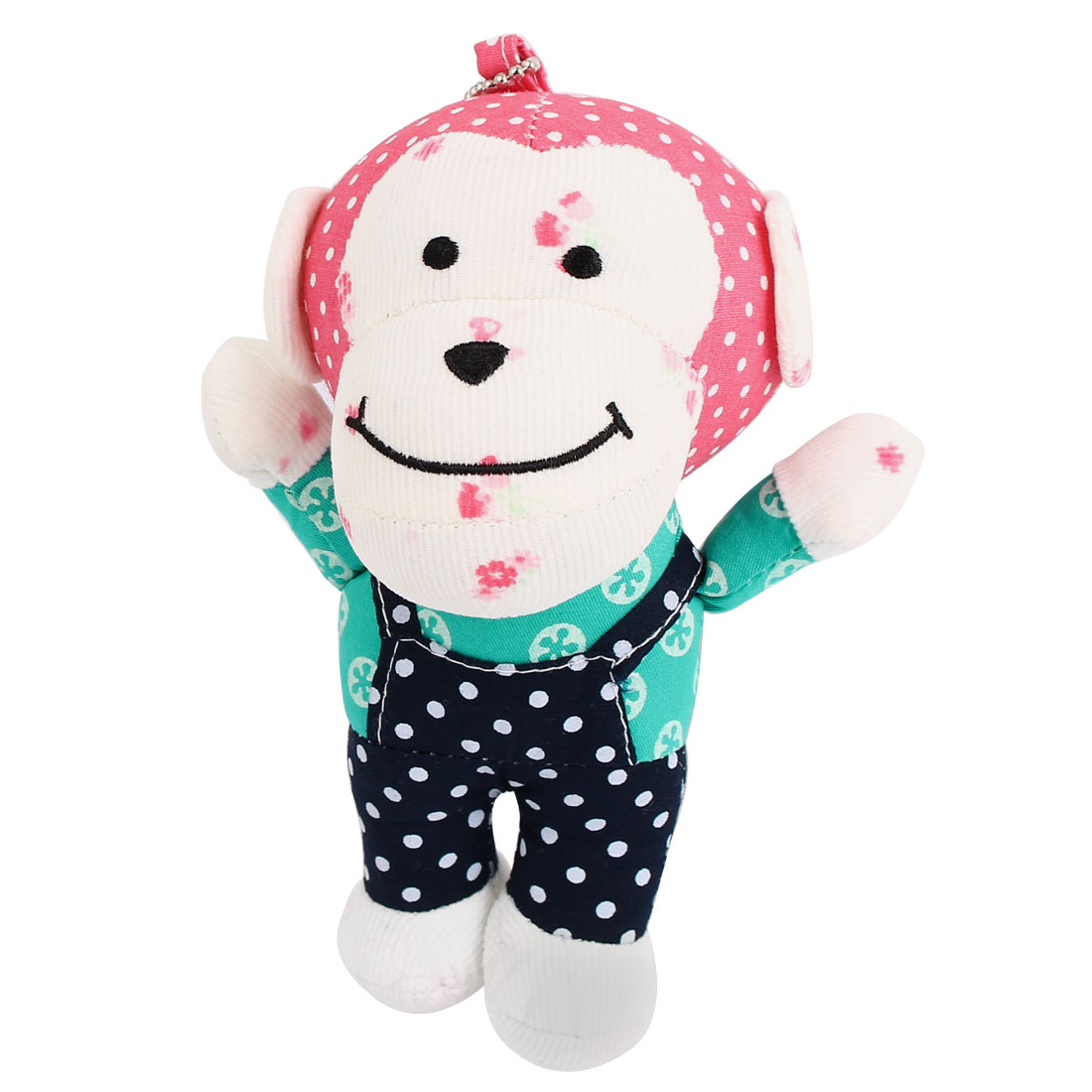 Metal Ball Chain Dotted Pattern Bag Decoration Monkey Doll Toy Pendant Red