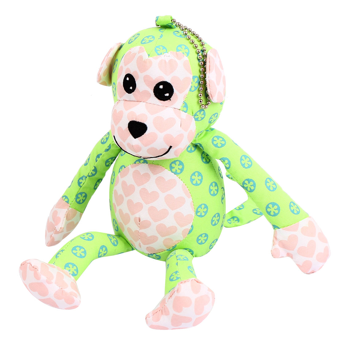 Metal Ball Chain Dot Pattern Bag Decoration Monkey Doll Toy Pendant Light Green