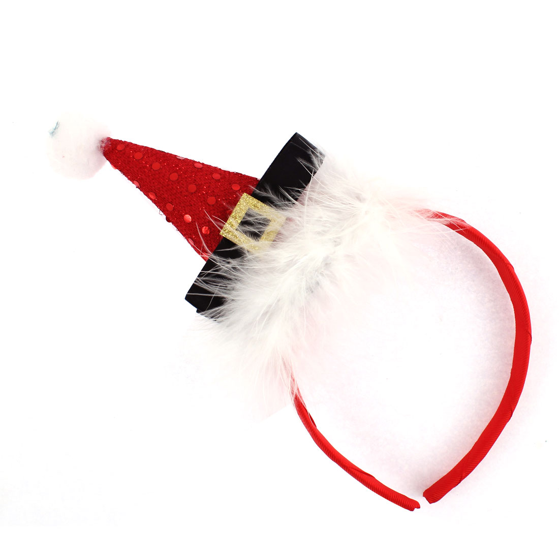 Woman Lady Santa Hat Decor Christmas Party Head Wrap Headband Hairband Red