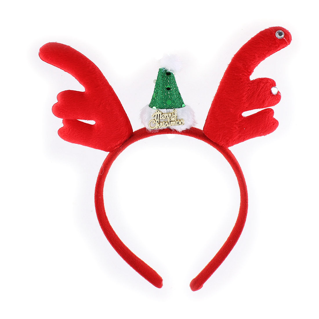 Woman Antler Santa Hat Decor Christmas Party Head Wrap Headband Hairband Red
