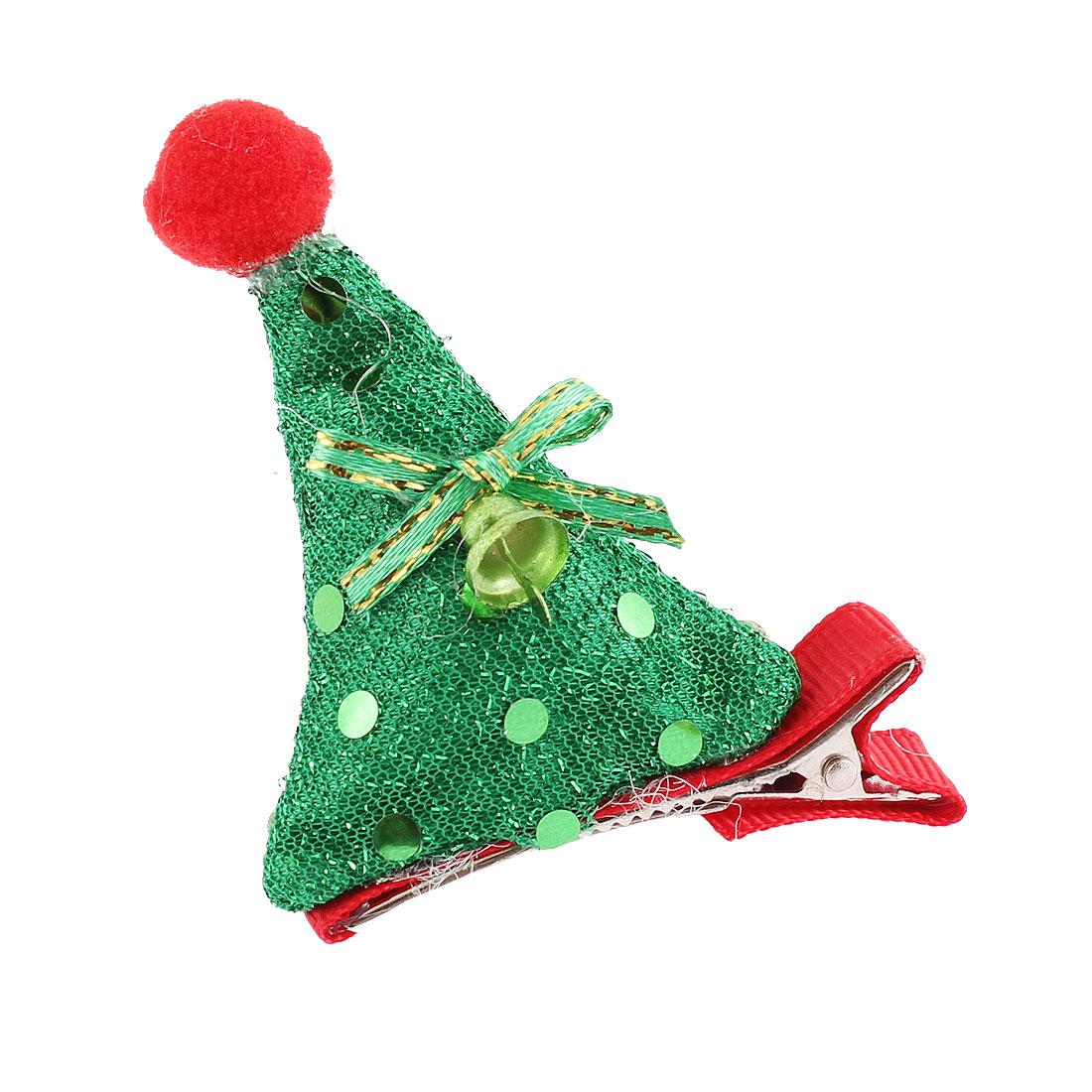 Lady Cloth Santa Hat Decor Christmas Party Alligator Hair Clip Barrette Green