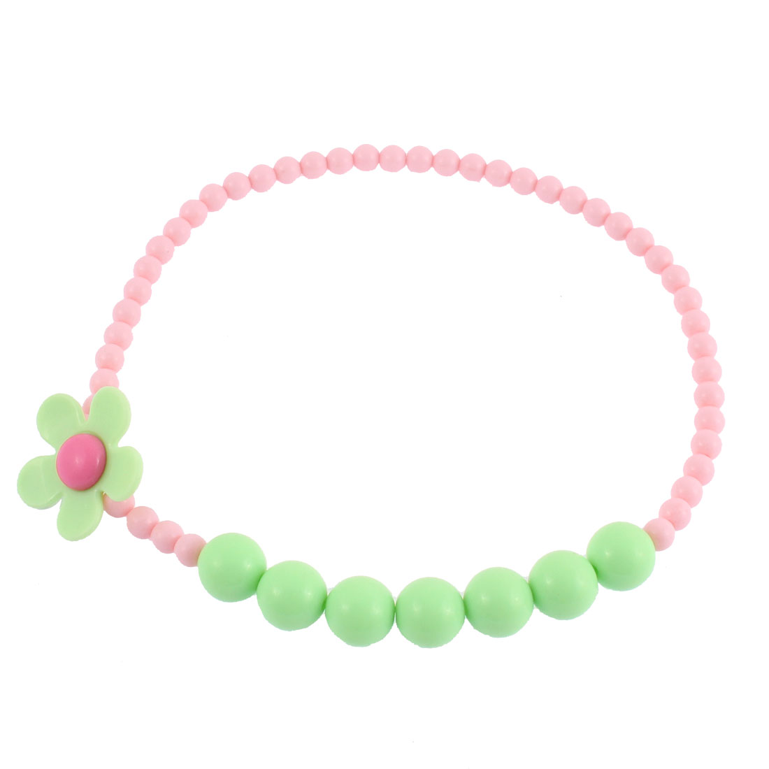 Woman Lady Plastic Flower Decor Bead Ball Chain Stretchy Necklace Pink Green