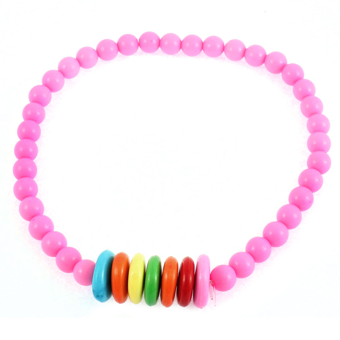 Woman Lady Plastic Flat Stone Decor Bead Ball Chain Stretchy Necklace Fuchsia